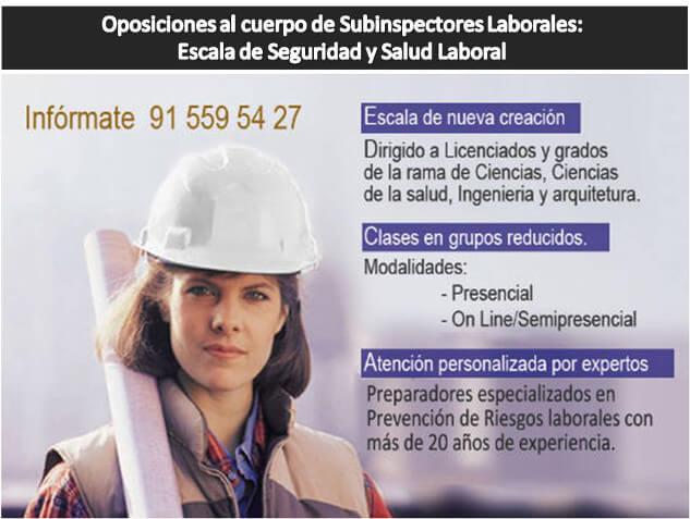 Oposiciones al Cuerpo de Subinspectores Laborales:  Escala de Seguridad y Salud Laboral